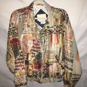 """Vintage """"EAST WEST Silks"""" 100% silk fancy jacket L"""